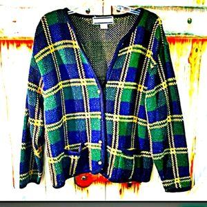 💚 CRYSTAL KOBE L/ plaid long sleeve cardigan